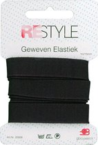 ReStyle - Geweven Elastiek 15 mm - Zwart - 1mtr