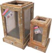 Lantaarn hout binnen en buiten – decoratie set 2 houten lantaarns | GerichteKeuze