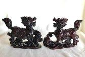 Feng Shui drakenpaard De Chi Lin - qilin bruinrode 14x4.5x11.5cm