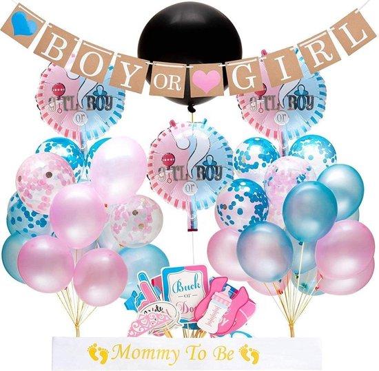 Gender Reveal set -  62-delig - Baby - Geboorte - Geslachtsbepaling - Helium - Ballonnen - Feest - Partypack - Boy Or Girl - Babyshower