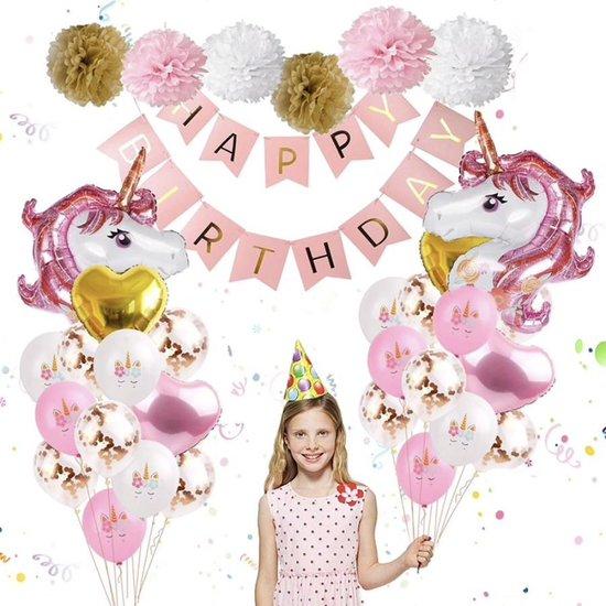 Unicorn Luxe Ballonnenset 38 stuks – Eenhoorn verjaardag versiering - Birthday - Kinderfeestje Thema Party - feestpakket Princess