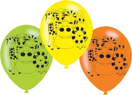 6 Latex balloons Jungle Animals 22 8cm/9