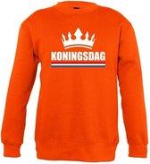 Oranje Koningsdag met kroon sweater kinderen 130/140 (9-10 jaar)