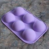 Siliconen Bakvorm – 6 Halve Bollen – Brownies vorm/Cupcakevorm/cakevorm/ Bak&Pan decoraties