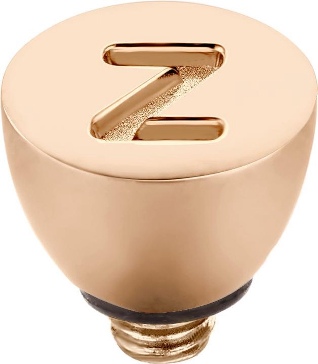 Melano Twisted steentje - letter Z - dames - rosekleurig - 6 mm - Melano Jewelry