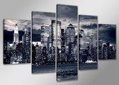 Canvas Schilderijen (Wanddecoratie woonkamer / slaapkamer) - Schilderij New York - 160 x 80 cm 5-Luik