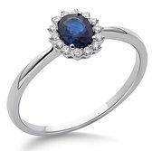 Orphelia RD-3927/52 - Ring - Goud 18 kt - Diamant 0.08 ct / Saffier 0.42 ct - 16.50 mm / maat 52