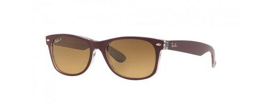 Ray-Ban RB2132 6054M2 - zonnebril - New Wayfarer (Color Mix) - Top Bordeaux On Transparent/Brown Gradient - Polarized - 55mm