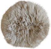 Stoelkussen - schapenvacht rond taupe - stoelpad - stoelzitting - zitkussen rond