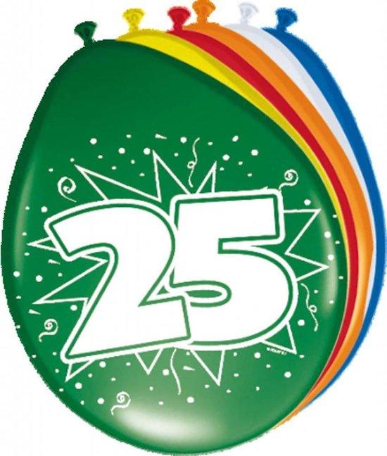 Ballonnen ster 30 cm: 25 jaar - 8 stuks (08225)