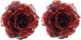 2x Kerstboom decoratie roos rood 14 cm - Kerstversiering rode glitter rozen 2 stuks
