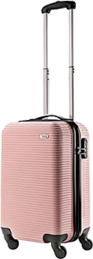 TravelZ Horizon Handbagagekoffer - 54cm Handbagage Trolley met gevoerde binnenkant - Baby Roze