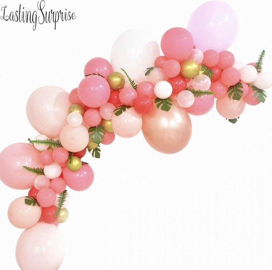 Luxe Ballonnen Boog Roze Rose Gold & Wit - 128 Stuks - ConfettiBallonnen- HeliumBallonnen - Wedding Babyshower Verjaardag Party Decoratie Thema Feest Ballonnenboog