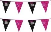 2x Zwart met roze Sweet 16 vlaggenlijnen 6 meter - versiering verjaardag 16 jaar