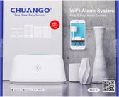 Chuango wifi alarmsysteem | 6-delig + app beveilig je huis snel en eenvoudig, zonder maandelijkse kosten, met dit complete alarmsysteem set | wifi kastje | 2 sensoren | 2 alarm bevestigingen | 2 afstandsbediening