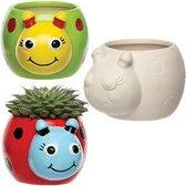 Keramische bloempotten in de vorm van een lieveheersbeestje – Een creatief knutsel- en decoratieproduct voor kinderen (4 stuks per verpakking)