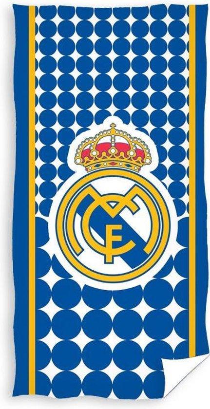 Real Madrid Badlaken Logo 70 X 140 Cm Blauw