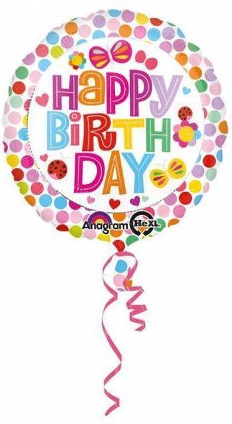 Helium Ballon Happy Birthday Bloem Stip 43cm leeg