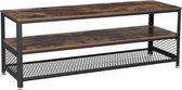 MIRA Home - TV Meubel industrieel - Bijzettafel hout - Woonkamer decoratie - Bruin/Zwart - 140x40x52