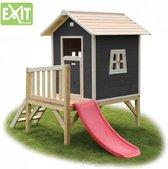 Speelhuis EXIT Beach 300 Houten speelhuisje  zwart met glijbaan - Limited Edition