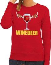 Foute kersttrui / sweater wijntje Winedeer rood voor dames - Kersttruien M (38)
