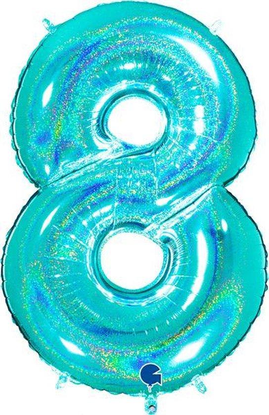 Cijfer 8 Glitter Tiffany Blue (102cm)