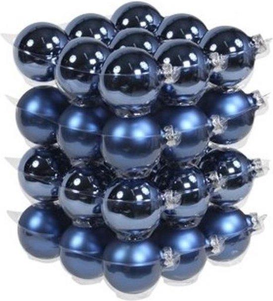 36x Blauwe glazen kerstballen 6 cm - mat/glans - Kerstboomversiering blauw