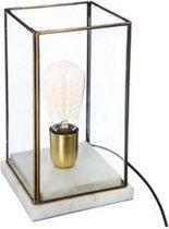 Tafellamp marmer met goud- bronskleurig geraamte met glas hoogte 26 cm
