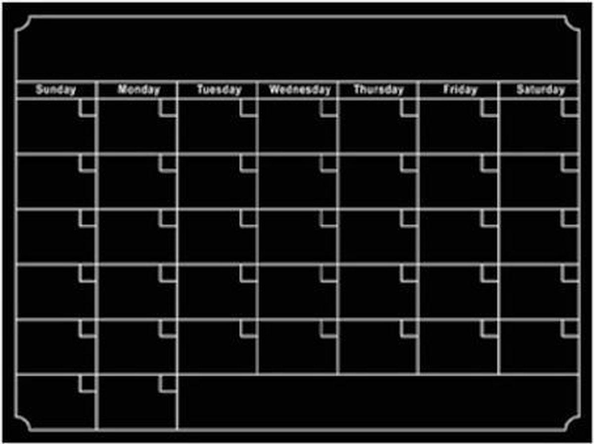 Magnetische Maand Kalender Zwart
