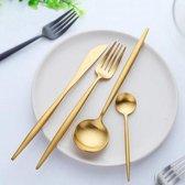 Lusso Elegante Bestek - Goud - Luxe Design - 4 Delig - 1 Persoon
