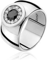 Zinzi - Zilveren Brede Ring - Zwarte Steen - Zirkonia - Maat 62 (ZIR796-62)