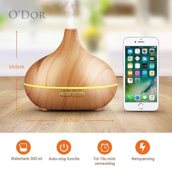 O'dor® Aroma Diffuser met Lemongrass Etherische Olie - Ultrasone Vernevelaar Bevochtiger Verdamper- Hout Look