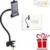 GOOS-E - Tablethouder - iPad houder - FLEXIBEL - STERK - STIJLVOL - universeel - o.a. tafel - bureau - bed - met 2 weg klem - Zwart