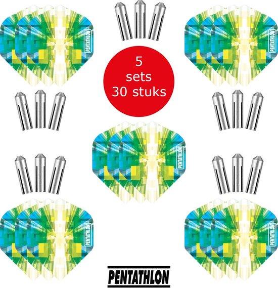 Dragon Darts - 5 sets (15 stuks) Pentathlon Explosion - darts flights - super stevig - blauw-groen - dartflights - dart flights - inclusief 15 stuks - flight protectors