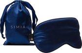 SIMIA™ Premium Zijden Slaapmasker met Opbergzakje - Luxe Verstelbare Oogmasker - 100% Zijde - Reismasker - Meditatie - Slaap - Reis - Ontspanning - Marine Blauw