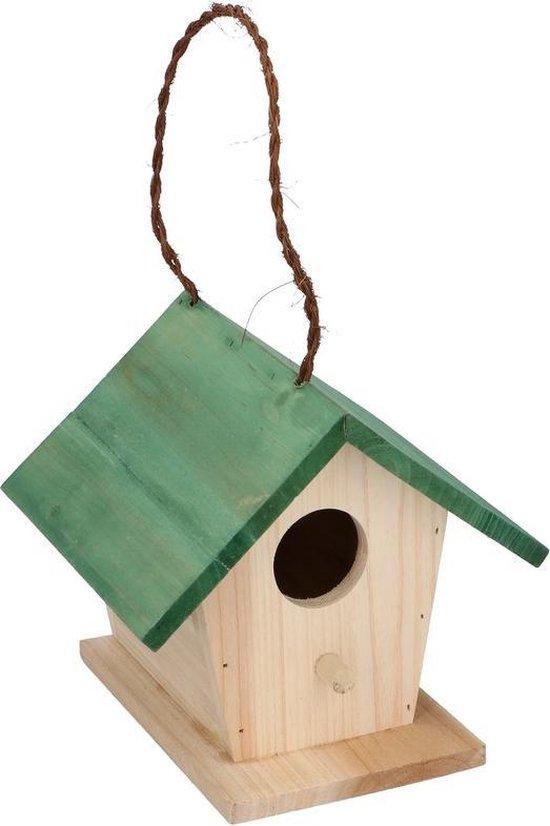 Houten vogelhuisje/nestkastje met groen dak 17 cm - Vogelhuisjes tuindecoraties