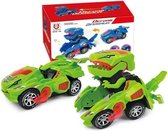 Transforming Dinosaur LED Car, Transformers speelgoed met licht en geluidsfunctie, dinosaurus transformator auto speelgoed - Groen