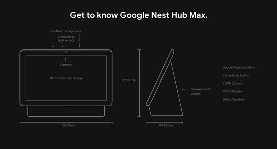 Google Nest Hub Max | Smart Speaker met scherm |Chalk