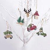 Houten kerst ornamenten met auto's, denneboom, huisje - Kerstboom versiering