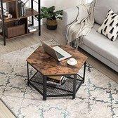 VASAGLE Salontafel | Industriële salontafel in de woonkamer of op kantoor | Stabiel metalen frame en gaasplank, zeshoekig
