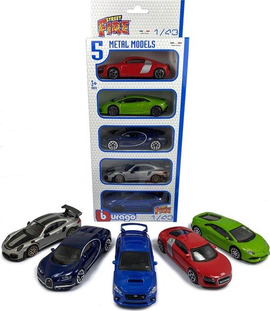Afbeelding van BBURAGO PORSCHE 911, BUGATTI CHIRON, Subaru WRX STI, AUDI R8, LAMBORGHINI HURACAN - 5 CAR SET 1:43