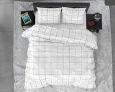 Dreamhouse Satin Deep check - Dekbedovertrek - Eenpersoons - 140x200/220 + 1 kussensloop 60x70 - Wit