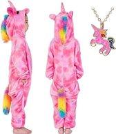 Eenhoorn Onesie Unicorn roze huispak kostuum kinderen - 128-134 (130) + GRATIS ketting verkleedkleding jurk