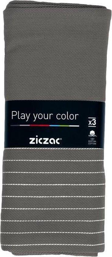 Ziczac - Keukenhanddoek 50*70 cm, set 3, check, stripe grey
