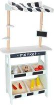 Mamabrum - Houten Marktkraam - Groenten en fruit kraam - Accessoires inbegrepen - Winkeltje Speelgoed - winkel
