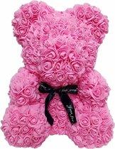 Rozen teddybeer van roze kunstrozen van 25cm Valentijnsdag /Moederdag /Verjaardag/ rose bear/ bloemen beer / teddy beer