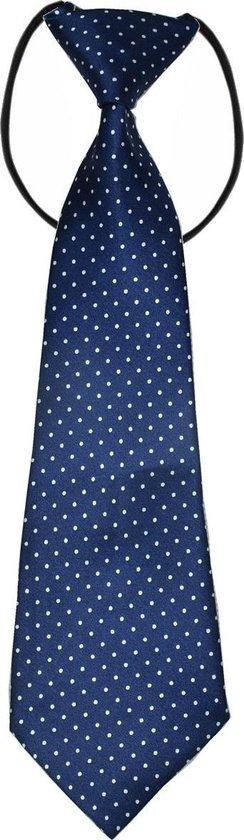 Fako Fashion® - Kinderstropdas - Stropdas - Das - Print - Elastiek - Stipjes Navy Blauw