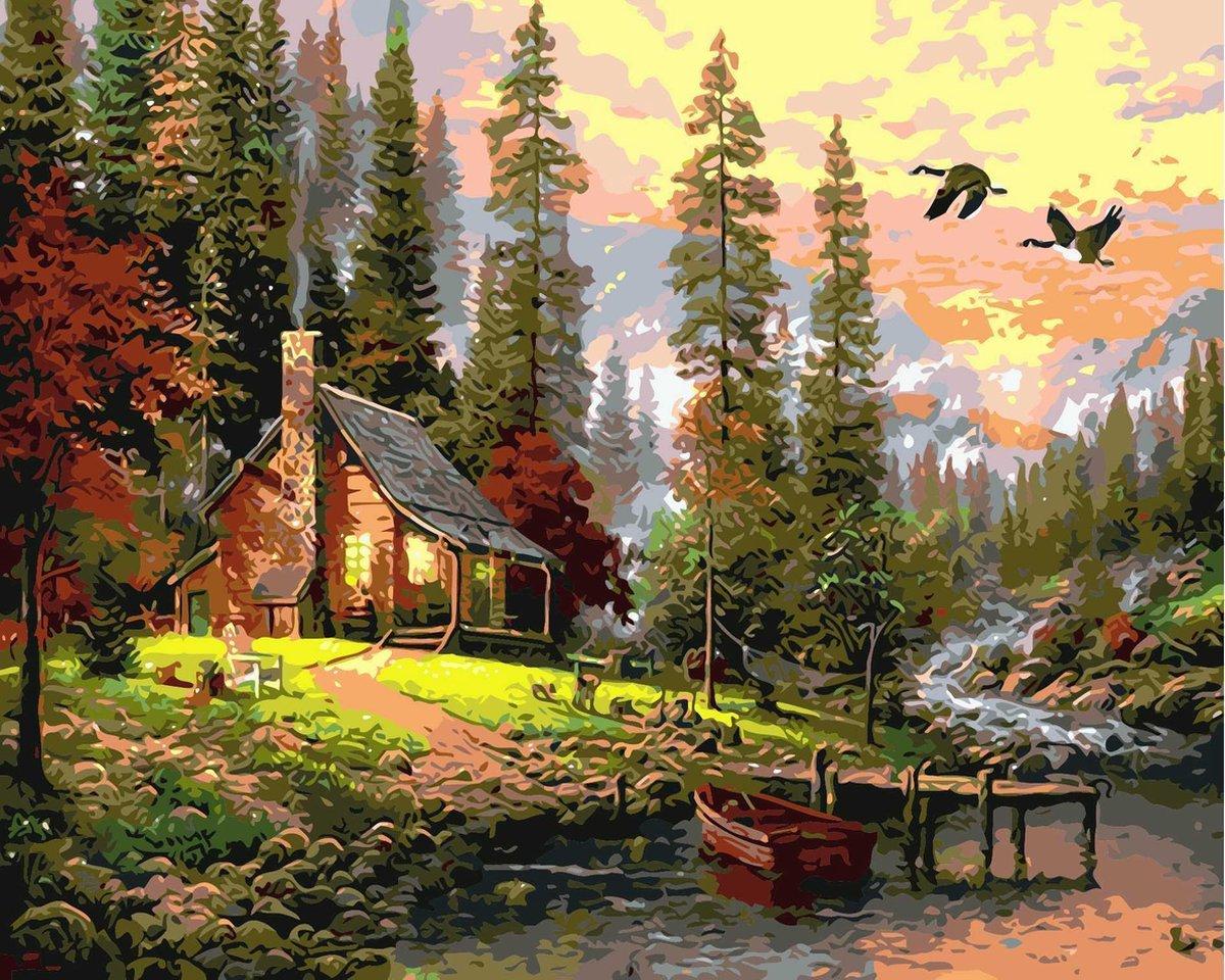 Joeni® Schilderen Op Nummer - 40x50cm - Landschap: Huisje in de Natuur - Volwassenen