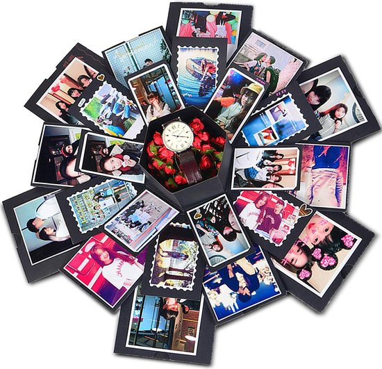 HBKS Lovegoods Explosie Foto Doos - Explosion Box - Giftbox - Geschenkdoos - Met Instructievideo - DIY - Zwart