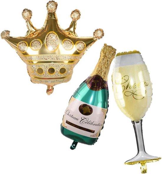 Folieballon Champagnefles en Glas | Verjaardag decoratie | Oud en Nieuw | Jaarwisseling | Happy New Year